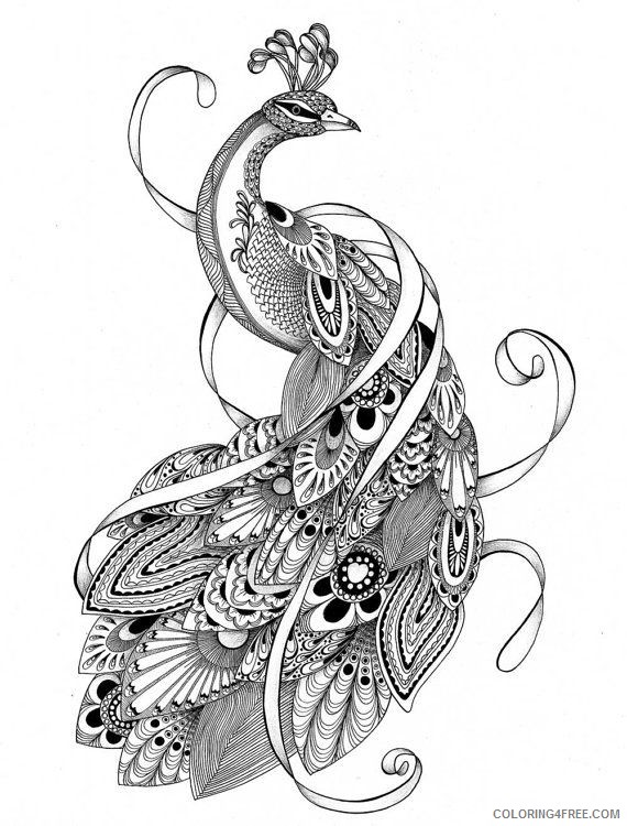 Abstract Peacock Feathers Coloring Pages Coloring4free - Coloring4Free.com