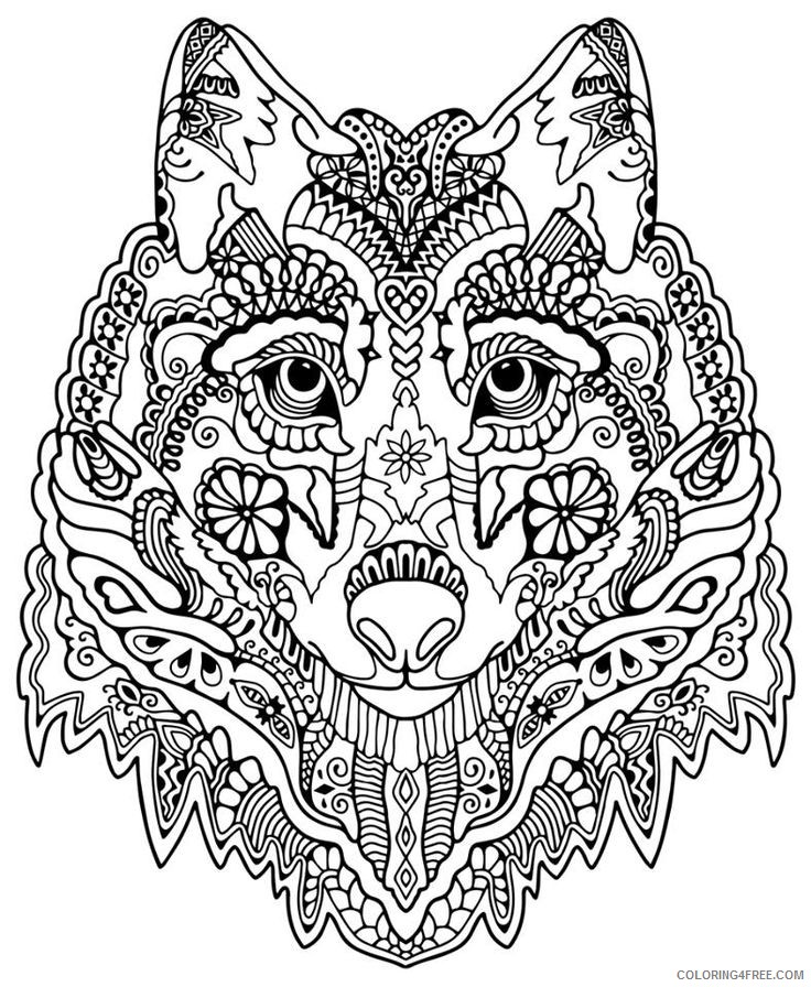 - Abstract Wolf Coloring Pages For Adults Coloring4free - Coloring4Free.com