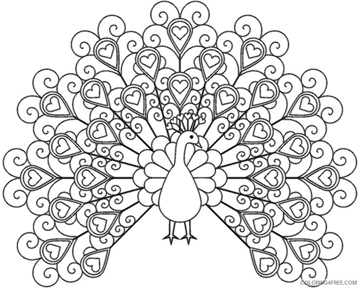 Adult Coloring Pages Cute Peacock Coloring4free - Coloring4Free.com