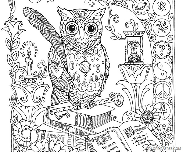 Adult Coloring Pages Hard Owl Coloring4free - Coloring4Free.com
