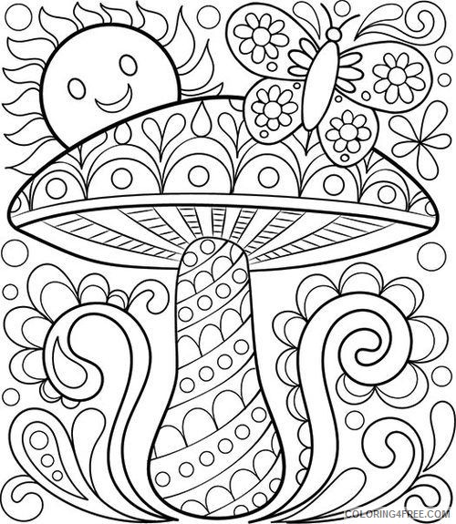 Adult Coloring Pages Mushroom Sun Butterfly Coloring4free