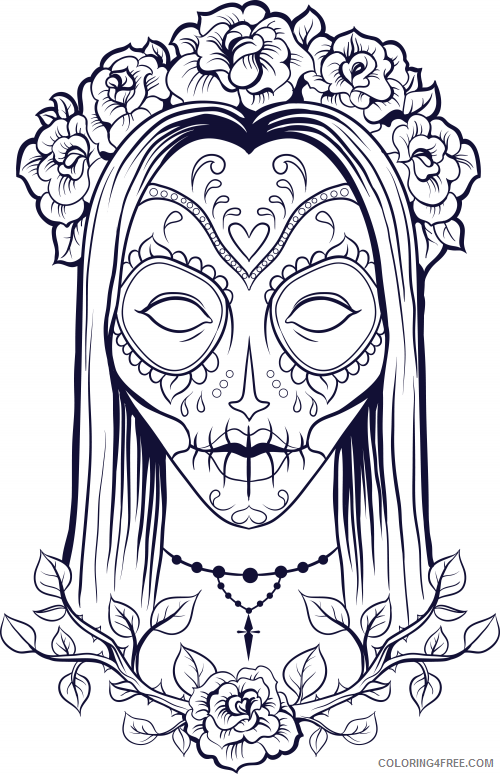 - Adult Coloring Pages Sugar Skull Girl Coloring4free - Coloring4Free.com