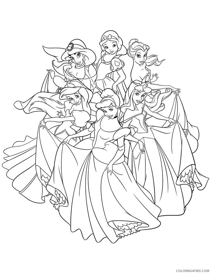 - All Disney Princesses Coloring Pages Coloring4free - Coloring4Free.com