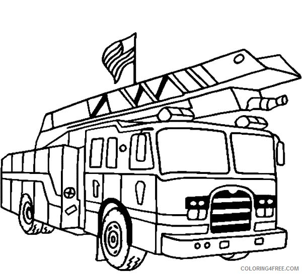 - American Fire Truck Coloring Pages Coloring4free - Coloring4Free.com