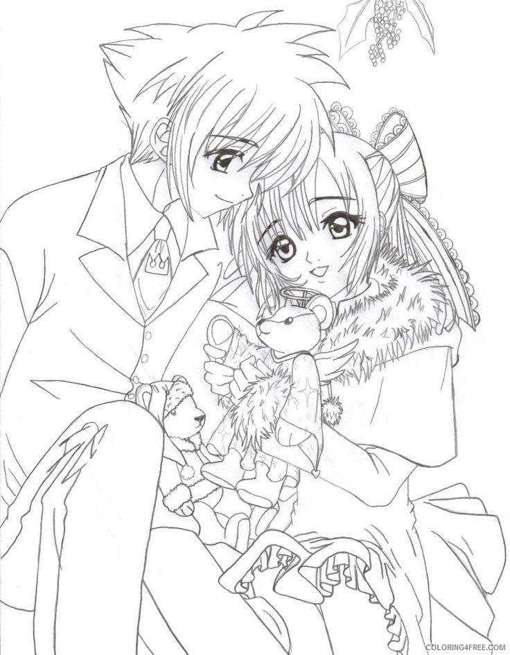 Anime Coloring Pages Boy And Girl Couple Coloring4free - Coloring4Free.com