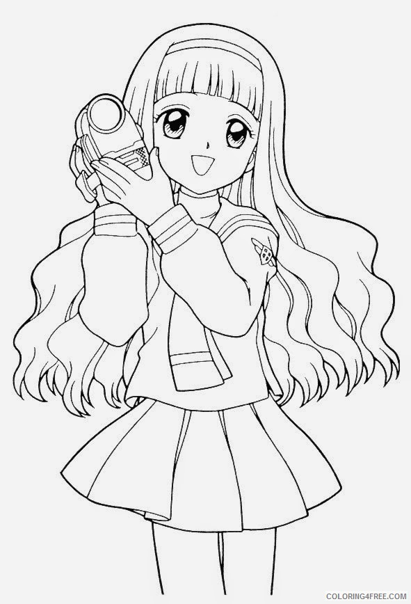 - Anime Girl Coloring Pages Holding Camera Coloring4free - Coloring4Free.com