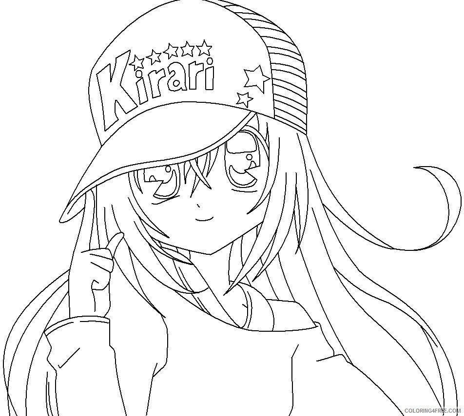 anime girl coloring pages wearing hat Coloring4free - Coloring4Free.com