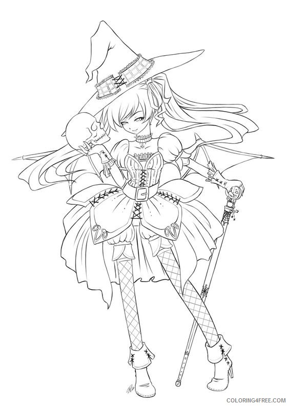 Anime Witch Coloring Pages Coloring4free - Coloring4Free.com