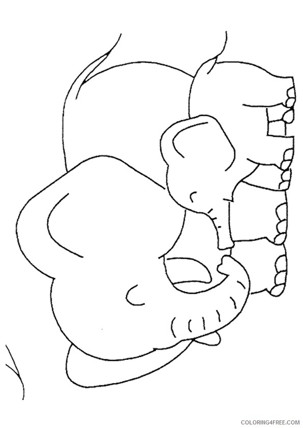 Baby Elephant Coloring Pages With Mom Coloring4free Coloring4free Com