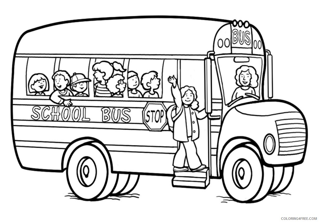 Back To School Coloring Pages With School Bus Coloring4free -  Coloring4Free.com