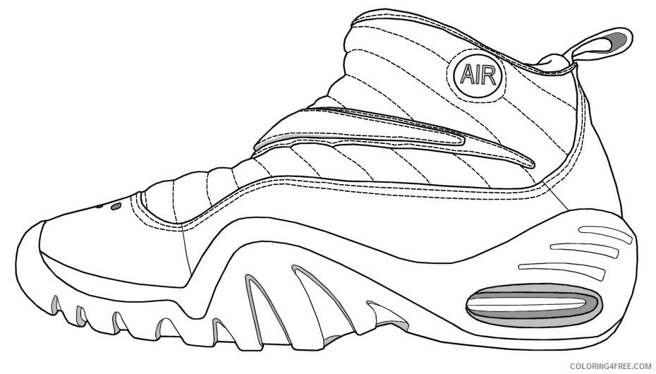 - Basketball Coloring Pages Air Jordan Shoes Coloring4free - Coloring4Free.com