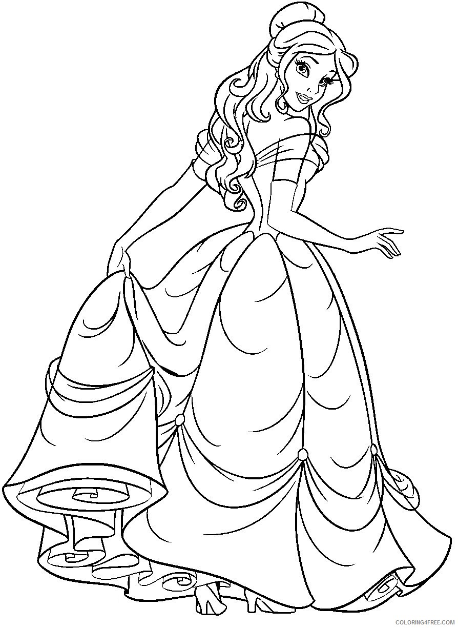 Disney Princess Belle Coloring Pages Coloring4free Coloring4free Com