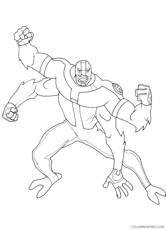- Ben 10 Coloring Pages Four Arms Coloring4free - Coloring4Free.com