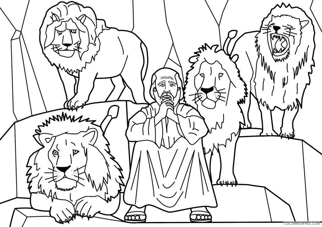 - Bible Story Coloring Pages Daniel In The Lions Den Coloring4free -  Coloring4Free.com