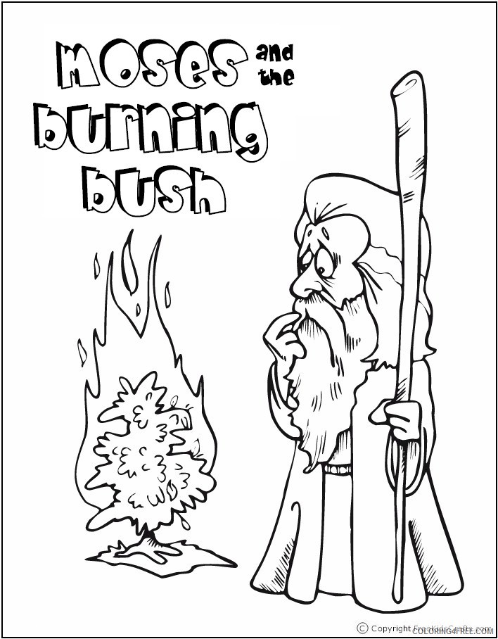 Bible Story Coloring Pages Moses And Burning Bush Coloring4free -  Coloring4Free.com