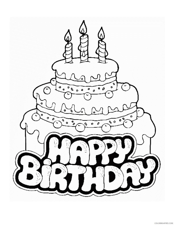 Excellent Birthday Cake Coloring Pages Happy Birthday Coloring4Free Funny Birthday Cards Online Elaedamsfinfo