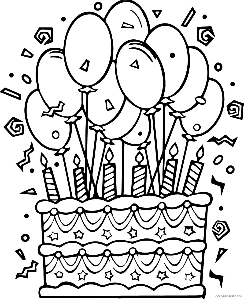 Birthday Cake Coloring Page 13   Free Birthday Cake Coloring Page   1274x1042