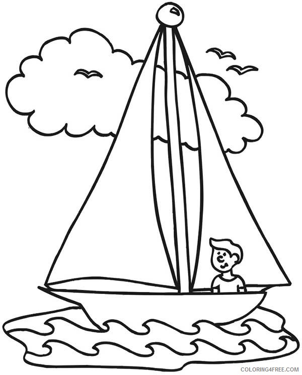 Boat Coloring Pages Sailboat With People Coloring4free - Coloring4Free.com