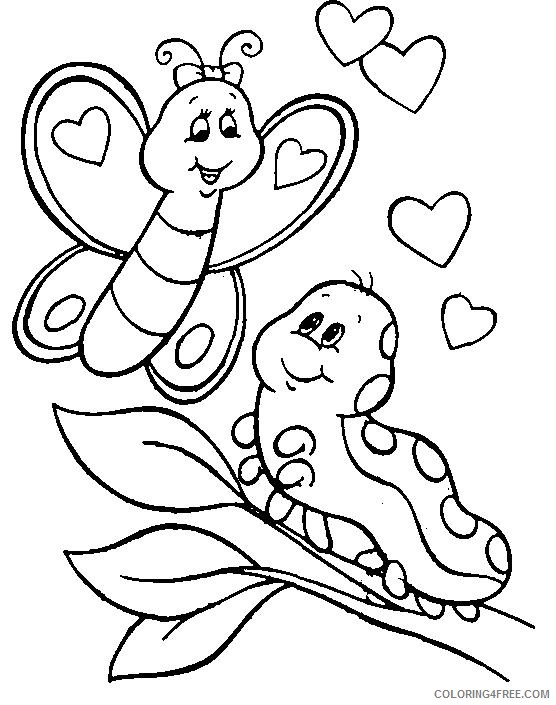 - Caterpillar Coloring Pages With Butterfly Coloring4free - Coloring4Free.com
