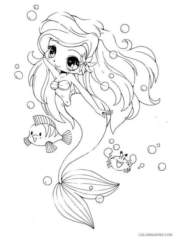 Chibi Coloring Pages Little Mermaid Coloring4free Coloring4free Com