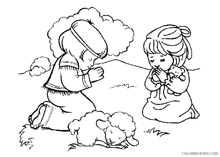 Christian Coloring Pages Kids Praying Coloring4free - Coloring4Free.com