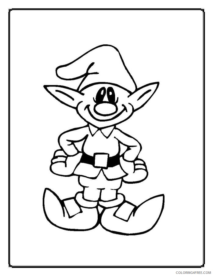Christmas Elf Coloring Pages Printable Coloring4free - Coloring4Free.com