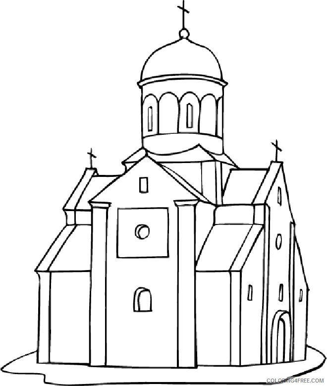 Church Coloring Pages To Print Coloring4free - Coloring4Free.com