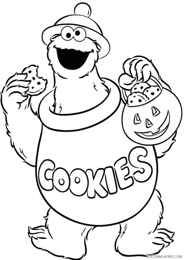 Cookie Monster Coloring Pages Halloween Coloring4free Coloring4free Com