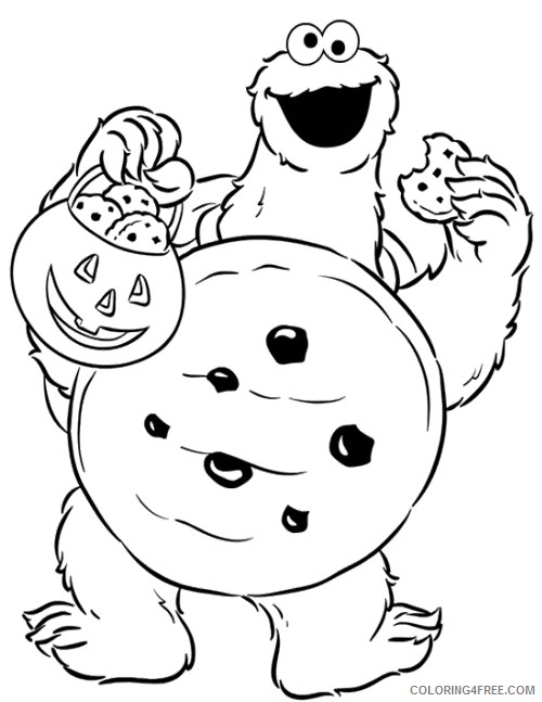 Cookie Monster Coloring Pages Halloween Costume Coloring4free Coloring4free Com