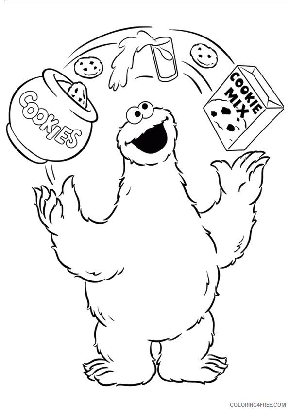 Cookie Monster Coloring Pages Milk And Cookie Mix Coloring4free -  Coloring4Free.com