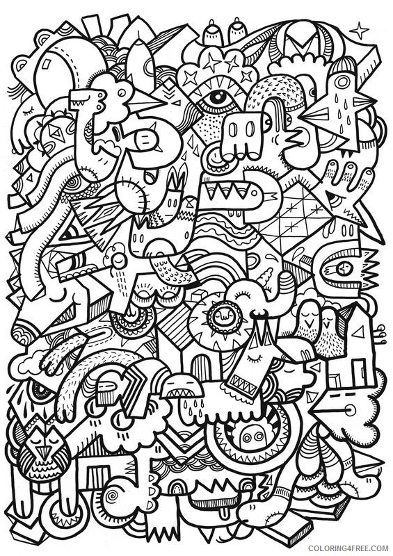 Cool Abstract Printable Coloring Pages For Adults Coloring4free -  Coloring4Free.com