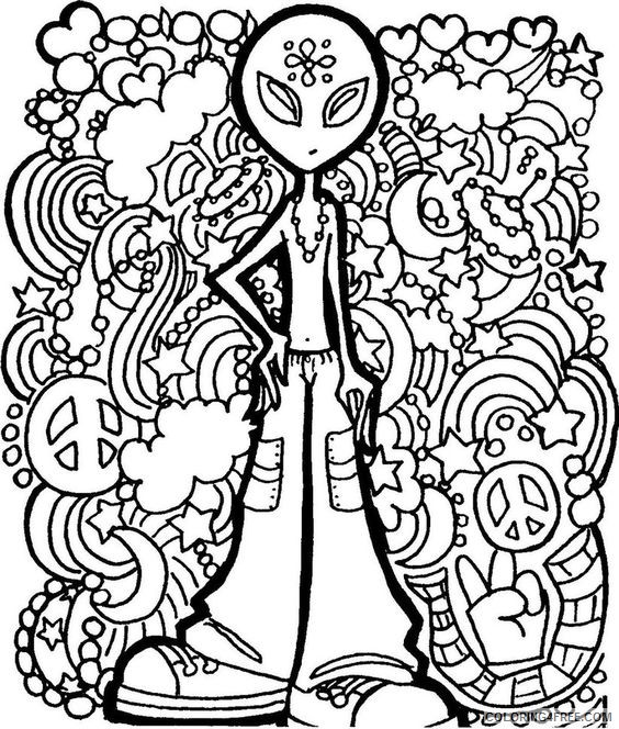 Cool Trippy Coloring Pages Coloring4free - Coloring4Free.com