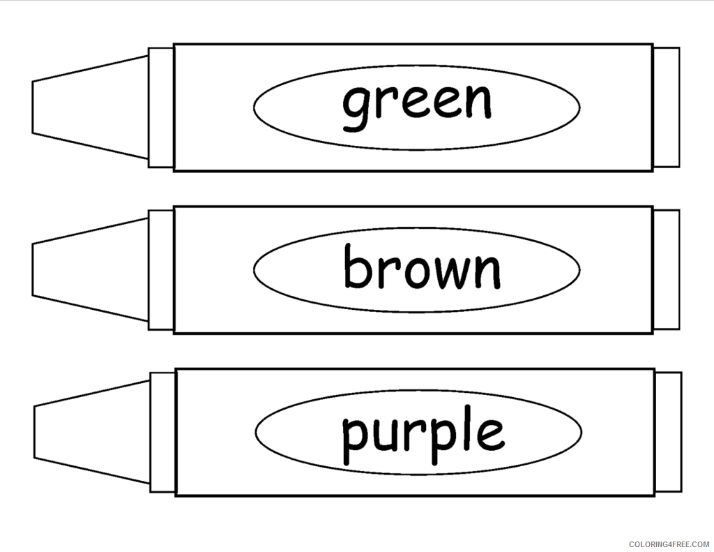 Crayon Coloring Pages For Preschool Coloring4free Coloring4free Com