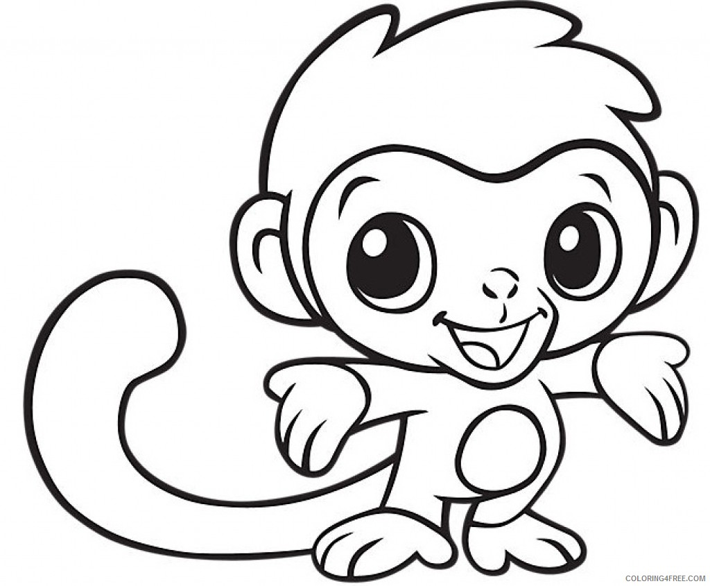 Cute Baby Monkey Coloring Pages Coloring4free Coloring4free Com