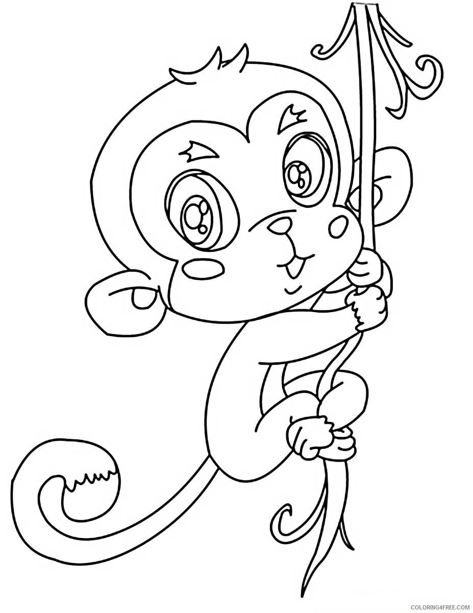 Cute Monkey Coloring Pages Hanging On Tree Coloring4free Coloring4free Com