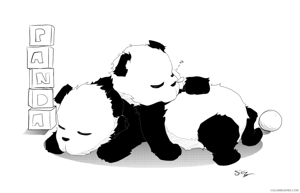 Panda Coloring Pages For Adults Coloring4free Coloring4free Com