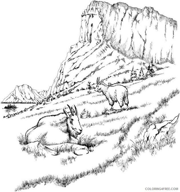 Landscape Coloring Pages Mountain Lake Coloring4free Coloring4free Com