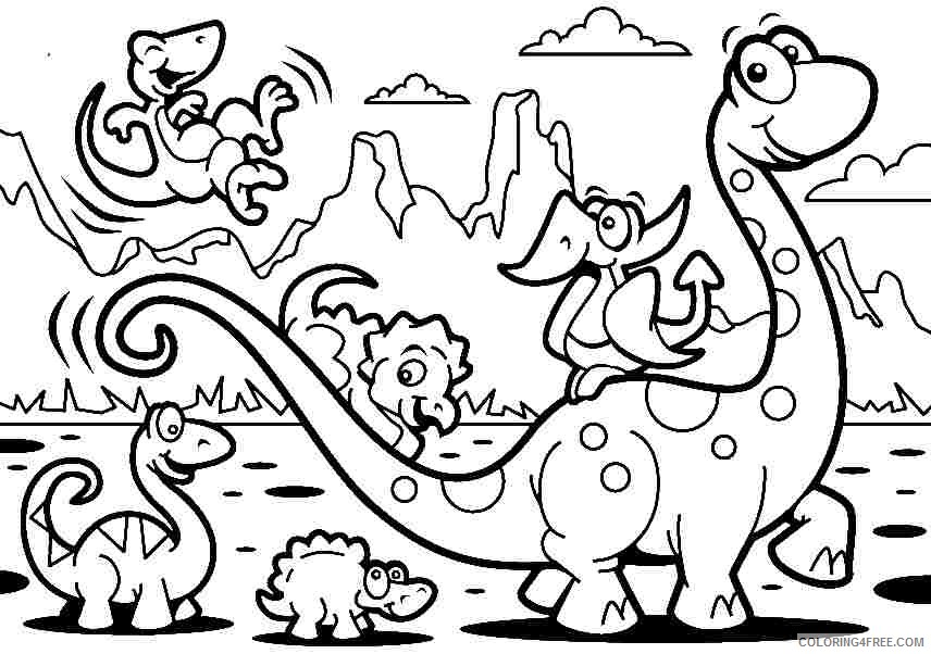 Dinosaurs Cartoon Coloring Pages For Kids Coloring4free - Coloring4Free.com