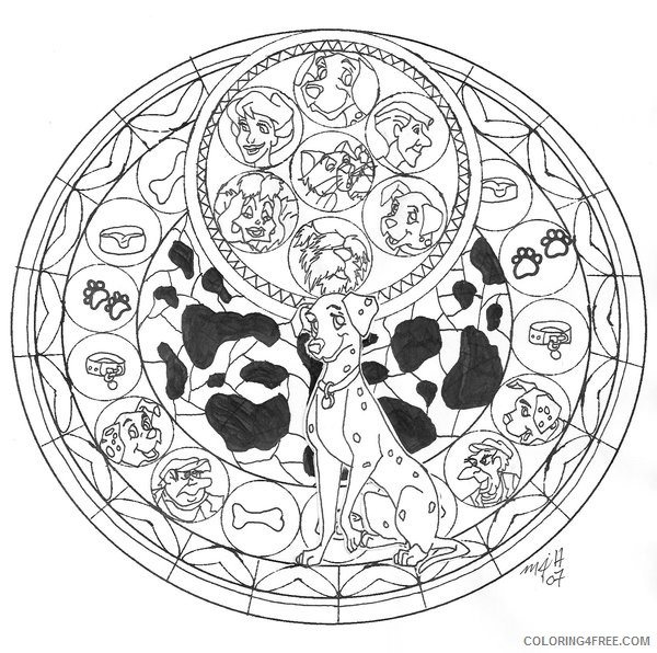 Disney Stained Glass Coloring Pages Dalmatians Coloring4free Coloring4free Com