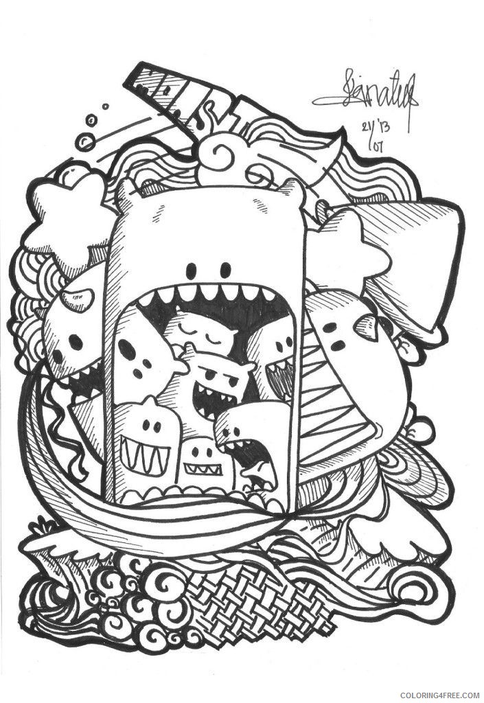 - Doodle Coloring Pages Printable Coloring4free - Coloring4Free.com