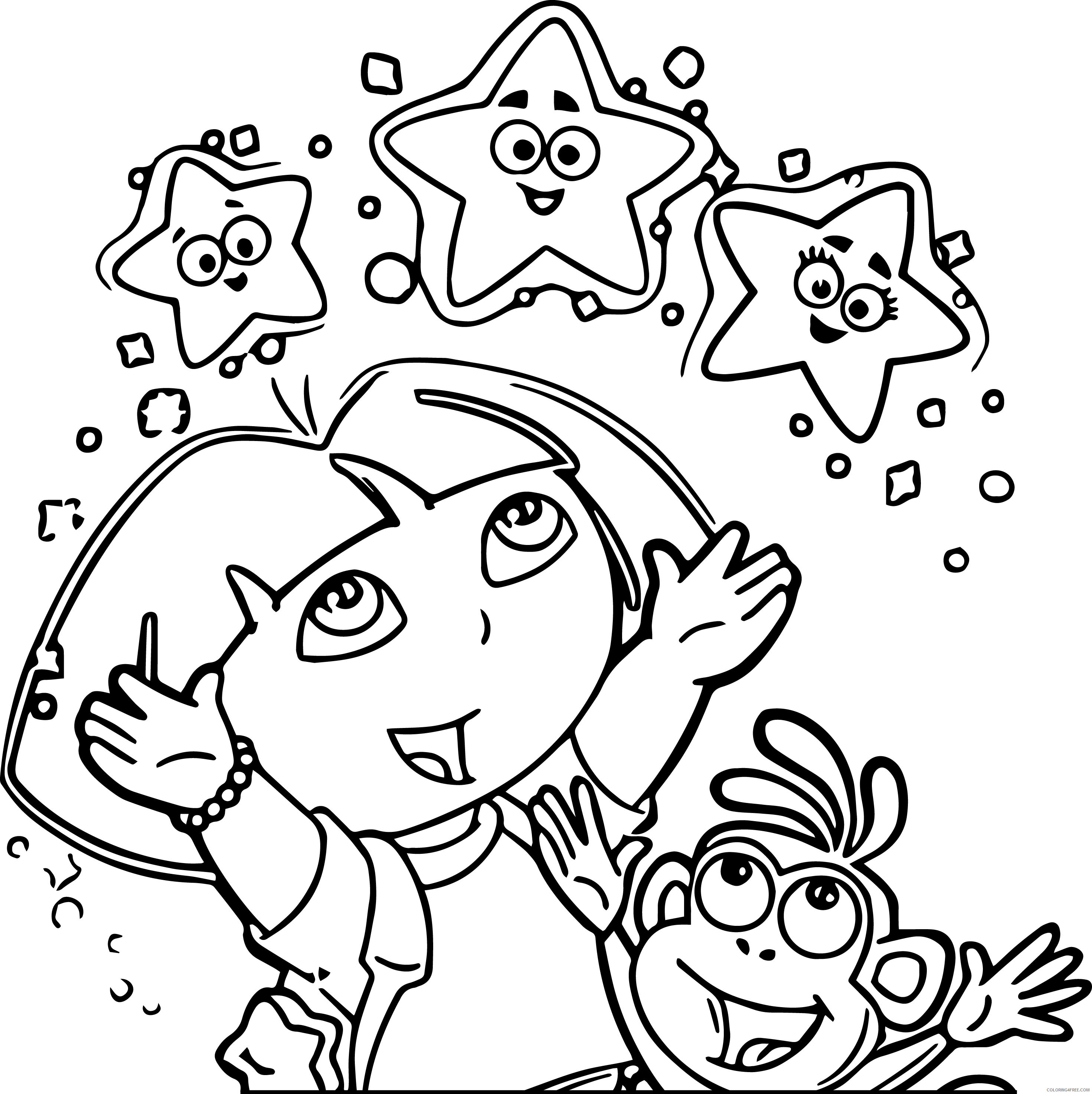 - Dora Coloring Pages Explorer Stars Coloring4free - Coloring4Free.com