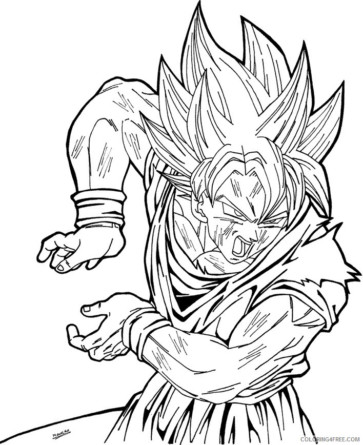 Dragon Ball Z Coloring Pages Goku Kamehameha Coloring4free Coloring4free Com