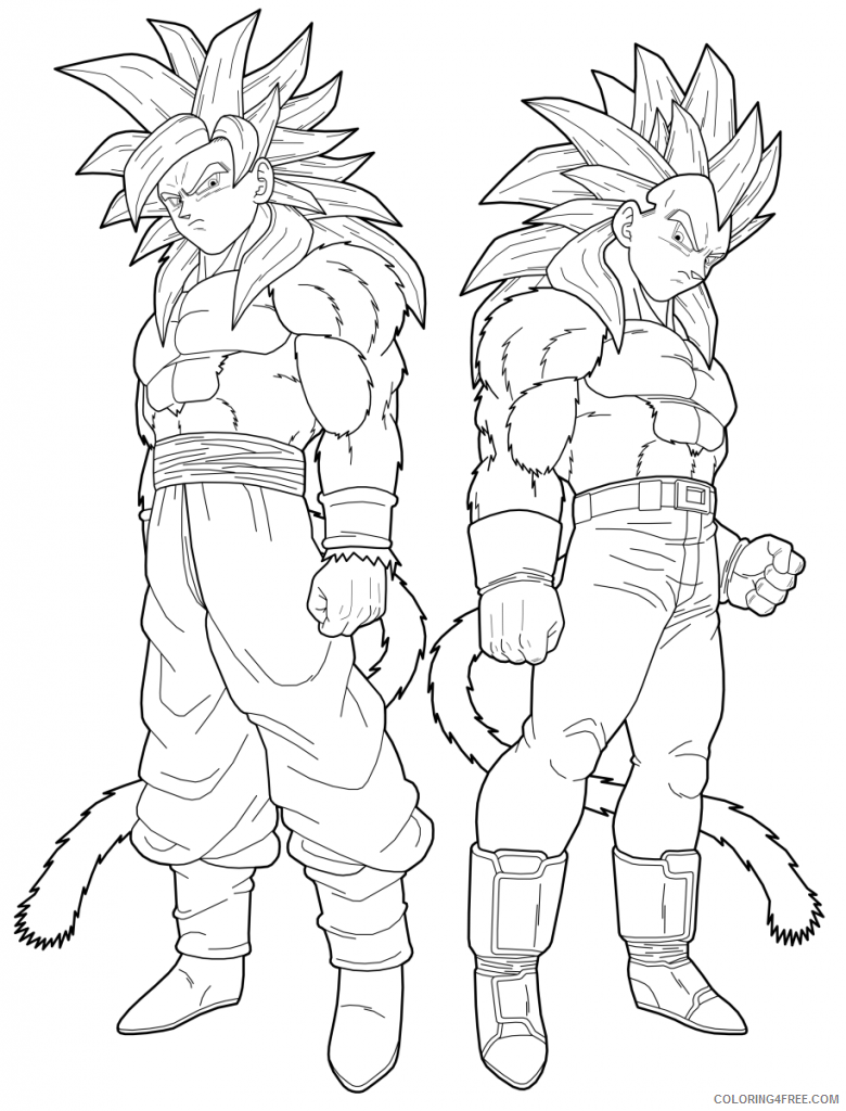 Dragon Ball Z Coloring Pages Goku Vegeta Coloring4free Coloring4free Com