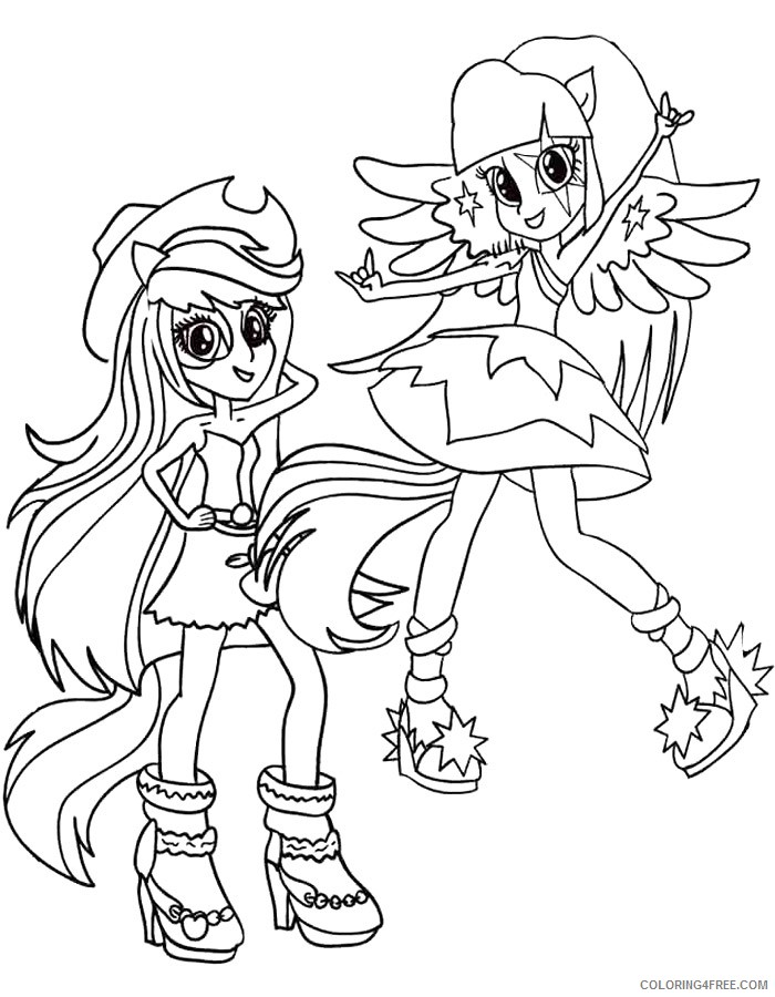 Equestria Girls Coloring Pages Applejack And Twilight Sparkle Coloring4free  - Coloring4Free.com