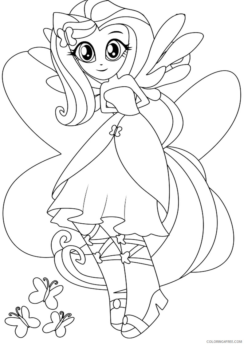 Equestria Girls Fluttershy Coloring Pages Coloring4free Coloring4free Com