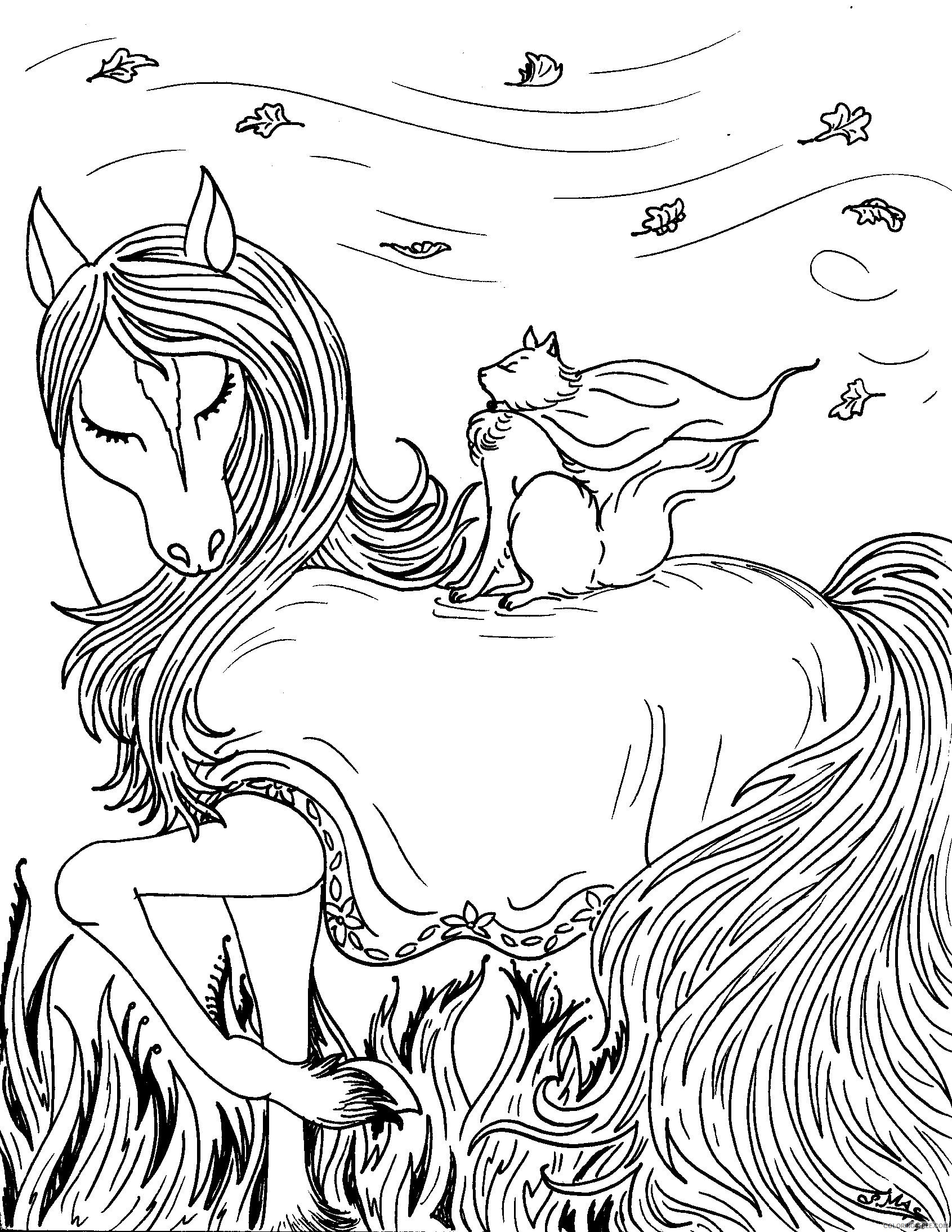 Fantasy Coloring Pages Horse And Cat Coloring4free Coloring4free Com