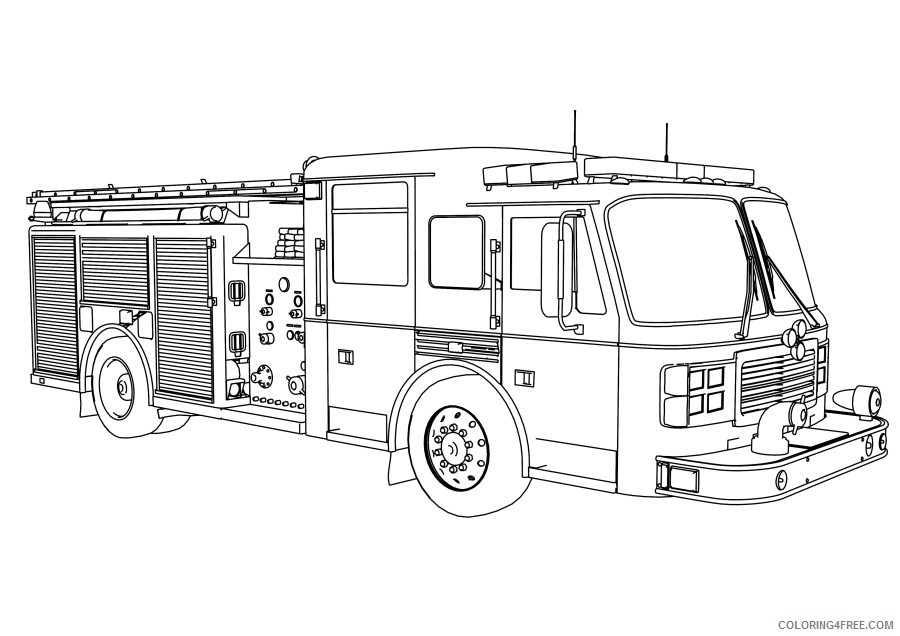 - Fire Truck Coloring Pages For Boys Coloring4free - Coloring4Free.com
