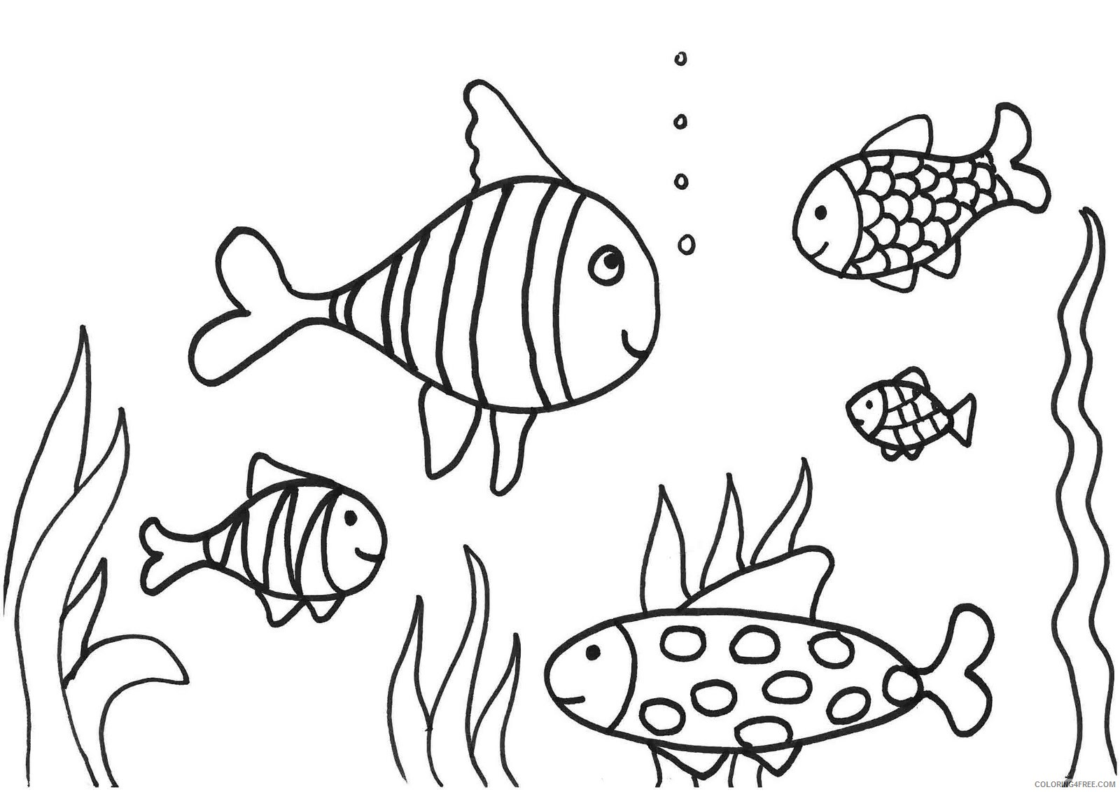 Fish Coloring Pages Underwater Coloring4free Coloring4free Com