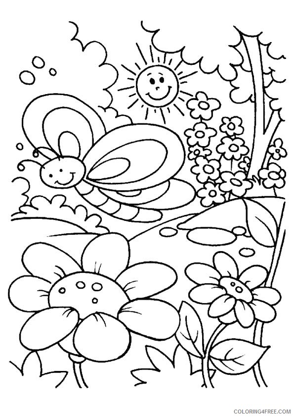 Free Spring Coloring Pages For Kids Coloring4free - Coloring4Free.com