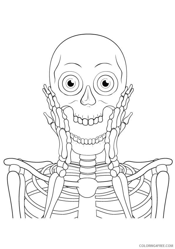 Dancing skeleton coloring page